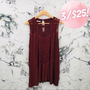 💖3/$25💖 Maurices Lace Sleeveless Top Maroon